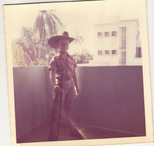 Singapore 1969, On Guard with my slouch hat and trusty SMLE .303 MkIII*
